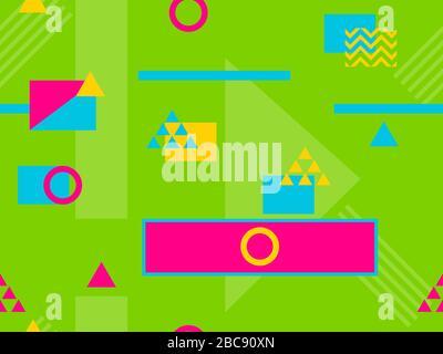 Nahtloses Muster im Stil der 80er und 90er Jahre mit geometrischen Formen und memphis-elementen. Trendiger farbenfroher Retro-Hintergrund für Werbeartikel - Stockfoto