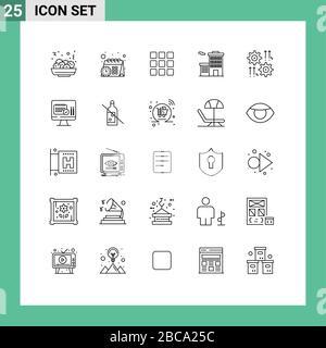 25-zeilige Konzeption für Websites Mobile und Apps Pfeil, COG, Shape, Gear, Unternehmen editierbare Vector Design-Elemente - Stockfoto