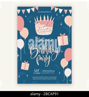 Vorlage für eine Einladung zum Happy Birthday - Stockfoto
