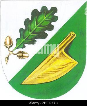 """""""Weitersch: Wappen der emaligen Gemeinde Eichfeld, Steiermark Englisch: Wappen der ehemaligen Gemeinde Eichfeld, Styria; 1. September 2007; de:Datei:Wappen Eichfeld.jpg; de:Partyhead; ' - Stockfoto"""