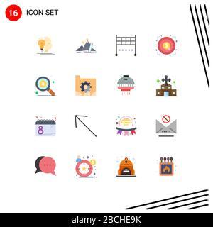 16 Universal Flat Colour Zeichen Symbole für Geld, Ziel, Karriere, Geld, Marketing editierbares Paket kreativer Vektordesignelemente - Stockfoto