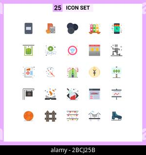Satz mit 25 modernen UI-Symbolen Symbole Zeichen für Verlauf, Archiv, Rechner, Linie, Fruchtbearbeitbare Vektor-Designelemente - Stockfoto