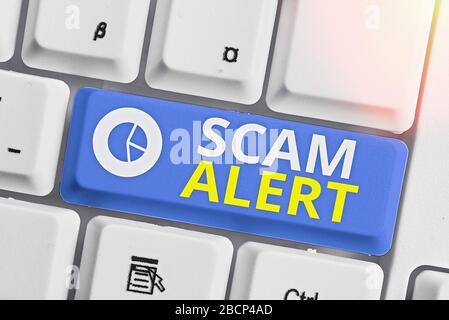 Text Zeichen angezeigt Scam Alert. Business Foto zur Schau stellen unerwünschte E-Mails, die behauptet, die Aussicht auf ein Schnäppchen - Stockfoto