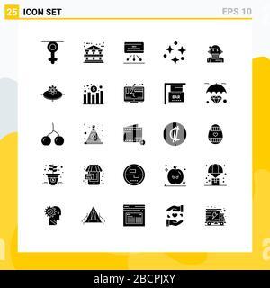 25 Universal Solid Glyphen für Web- und mobile Anwendungsberater, Stars, Marketing, Space, Nature Editable Vector Design Elements - Stockfoto