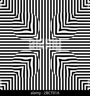 Optische illusion Linien Hintergrund. Abstrakten 3d schwarz und weiß Illusionen. Konzeption der optischen Illusion Vektor. EPS 10 Vector Illustration - Stockfoto