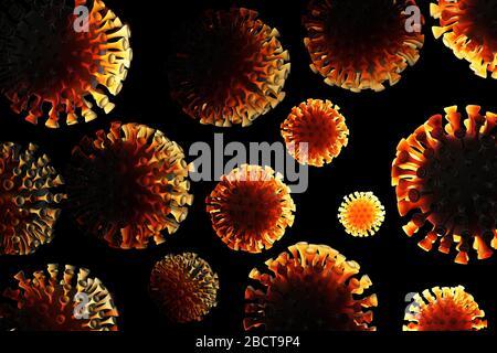 Coronavirus COVID-19-Moleküle, die im Raum fliegen. Mikroskopische Fotografie. Das Konzept der epidemischen Virusinfektion und des Lebensrisikos. Pflege - Stockfoto