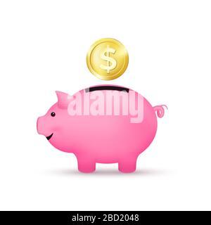 Pinkfarbene, piggige Bank und goldene Münze. Sparkonzept. Vektorgrafiken - Stockfoto