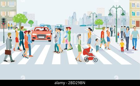 Straßenverkehr mit Fußgänger- und Fußgängerüberweg - Stockfoto