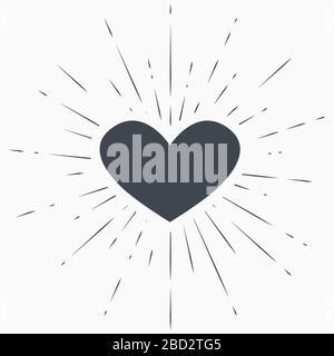 Herzsymbol mit Sonnenbrust auf Grunge-Hintergrund
