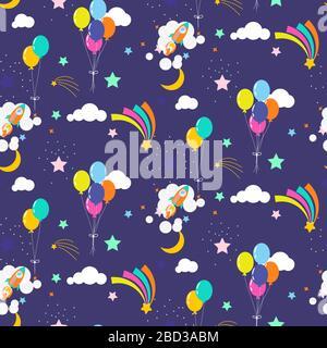 Festlicher Sternenhimmel mit Luftballons und Kometen kosmisches nahtloses Vektormuster Hintergrund violett leuchtende Farben. - Stockfoto
