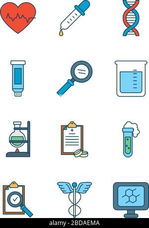 Herz mit medizinischem, wissenschaftlichem und Untersuchungssymbol über weißem Hintergrund, Linien- und Füllstil, Vektordarstellung - Stockfoto