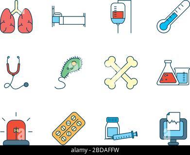 Menschliche Organe mit einem Symbol für medizinische, wissenschaftliche und Untersuchungssymbole, das auf weißen Hintergrund, Linien- und Füllstil, Vektorgrafiken gesetzt ist - Stockfoto