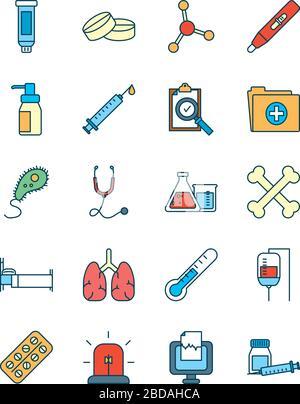 Spritzen mit Symbol für Wissenschaft und Untersuchung über weißem Hintergrund, Linien- und Füllstil, Vektorgrafiken - Stockfoto