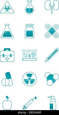 Symbol für Nukleartechnik und Symbol für Wissenschaft und Untersuchung über weißem Hintergrund, Verlaufsform, Vektordarstellung - Stockfoto