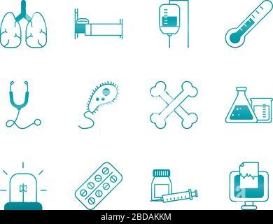 Menschliche Organe mit einem Symbol für Medizin, Wissenschaft und Untersuchung, das auf weißen Hintergrund, Gradientenstil und Vektorgrafiken gesetzt ist - Stockfoto