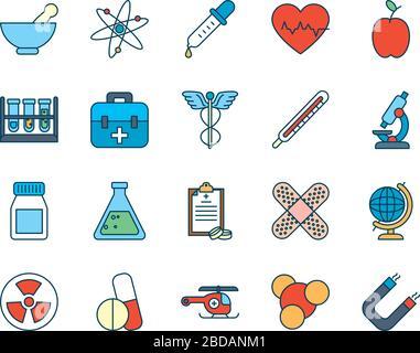 Chemische Kolben und medizinisches, wissenschaftliches und Untersuchungssymbol werden über weißem Hintergrund, Linien- und Füllstil, Vektorgrafiken gesetzt - Stockfoto
