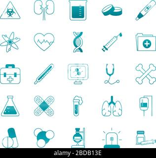 dna-Kette mit medizinischem, wissenschaftlichem und Untersuchungssymbol über weißem Hintergrund, Gradientenart, Vektordarstellung - Stockfoto