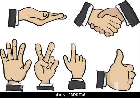 Vektordarstellung von Cartoon-Händen in verschiedenen Handzeichengesten - Stockfoto