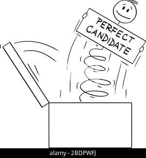Vector Cartoon Stick Figur mit einer konzeptuellen Illustration von Mann oder Geschäftsmann, die mit einem perfekten Jobanwärter auf die Feder aus der Box springen. - Stockfoto