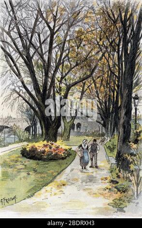 """""""Vue de terre-plein du pont Neuf, paris"""" (Spaziergänger an der Promenade von Pont-Neuf, Paris) Dessin de Gustave Fraipont (1849-1923) Reifen de 'La seine a tra - Stockfoto"""