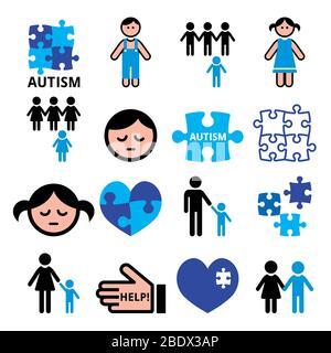 Autismus Bewusstsein Rätsel, autistische Kinder Vektor blaue Symbole gesetzt - Gesundheit Konzept - Stockfoto