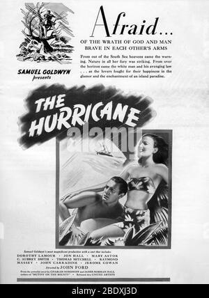 DOROTHY LAMOUR und JON HALL im HURRIKAN 1937 Regisseur JOHN FORD Roman Charles Nordhoff und James Norman Hall Spezialeffekte James Basevi The Samuel Goldwyn Company / United Artists - Stockfoto