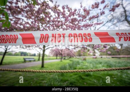 London, Großbritannien. April 2020. Coronavirus: Osterhitzewochenende im Greenwich Park gesperrt. Die beliebten Kirschblütenbäume im Park, die jetzt in voller Blüte stehen, werden hinter einer Polizeiabsperrung abgeklebt, um öffentliche Versammlungen abzuschrecken, da die Polizei weiterhin Menschen drängt, in britischen Parks physische Distanz zu wahren. Kredit: Guy Corbishley/Alamy Live News - Stockfoto
