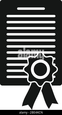 Symbol für das Anwaltsdiplom. Einfache Illustration von Rechtsanwalt Diplom Vektor-Symbol für Web-Design isoliert auf weißem Hintergrund - Stockfoto