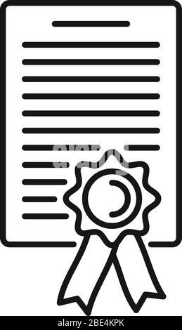 Symbol für das Anwaltsdiplom. Outline Rechtsanwalt Diplom Vektor-Symbol für Web-Design isoliert auf weißem Hintergrund - Stockfoto