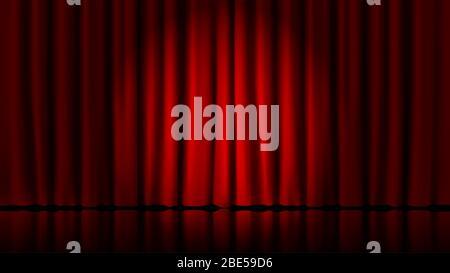 Bühne Vorhänge Licht von Scheinwerfer. Realistische Theater rote dramatische Vorhänge, Scheinwerfer auf der Bühne Theater klassischen Draperie Vektor Vorlage - Stockfoto