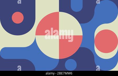 Bauhaushintergrund mit Formen, Kreis und Kurven im Stil des 80er-Jahre-Designs, minimalem geometrischem Muster, Retro-Mode-Webbanner. Vektorgrafiken - Stockfoto