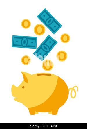 Illustration von Sparschwein und Geld. - Stockfoto