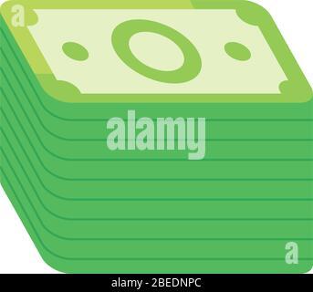 Wad of Bills Symbol über weißem Hintergrund, flacher Stil, Vektorgrafik - Stockfoto