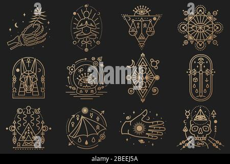 Esoterische Symbole. Vektor. Geometrisches Abzeichen mit dünner Linie. Umrisssymbol für Alchemie, Tarot-Karten, heilige Geometrie. Mystisches, magisches Design mit Sternen, Totenkopf, Tor zu einer anderen Welt, Mond, menschliche Skeletthand - Stockfoto