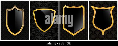 Retro Vektor schwarz und Gold Sicherheitsschild Abzeichen Grafik Emblem Logo Design-Kollektion - Satz von Schutz und Sicherheit