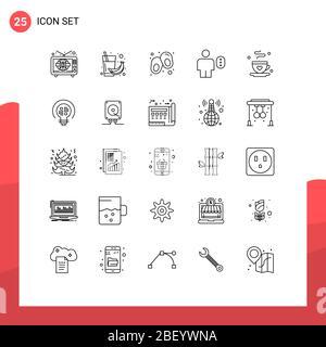 25 Linienkonzept für Websites Mobile und Apps Kaffee, Mensch, Saft, Körper, Zugriff editierbare Vector Design Elemente - Stockfoto