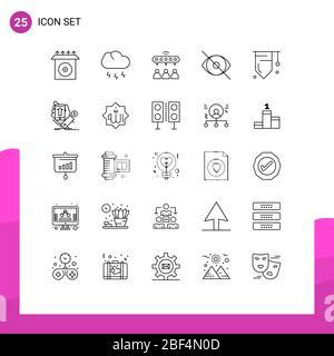 25 Linienkonzept für Websites Mobile und Apps Bildung, Mensch, Netzwerk, Vision, Gesicht editierbar Vektor Design-Elemente - Stockfoto