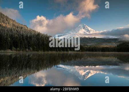 Am frühen Morgen zeigen sich bei Licht und Wolken der Abschied frische Herbstschneehefälle auf dem höchsten Gipfel von Oregon, dem Mt Hood, der sich in Trillium Lake spiegelt. - Stockfoto