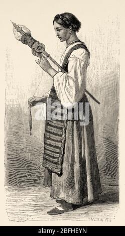 Junge Sibenik Frau Spinning Wolle, Kroatien, Europa. Alte Gravur Illustration Reise nach Istrien & Dalmatien 1874 von Charles Yriarte - Stockfoto