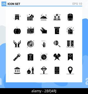 Modernes Set von 25 Solid Glyphen und Symbole wie halloween, Transport, Wolke, Eisenbahn, Zusammenarbeit editierbare Vektor Design-Elemente - Stockfoto