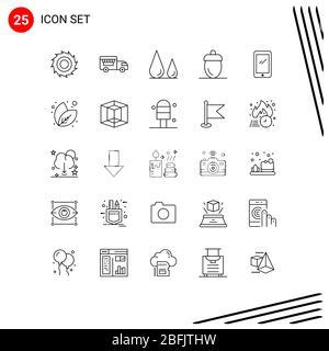 25 Linienkonzept für Websites Mobile und Apps Mobile, Phone, Lab, Green, Fresh editierbare Vector Design Elemente Stockfoto