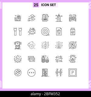25 Linienkonzept für Websites Mobile und Apps Licht, Büro, Blatt, Schreibtisch, Kind editierbar Vektor Design Elemente - Stockfoto