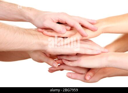 United Hands isoliert auf weiß Konzeptfoto von Teamwork - Stockfoto