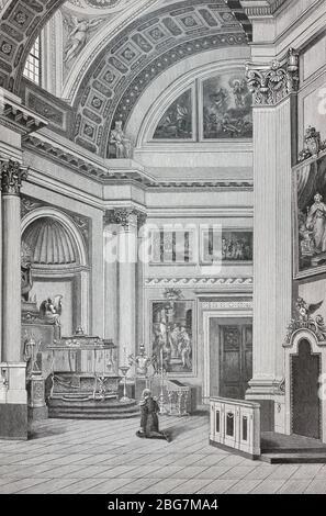 Russischer Kaiser Alexander I. am 1. September 1825 im Alexander Newski Lavra. Gravur des 19. Jahrhunderts. - Stockfoto
