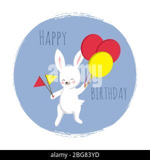 Niedlicher Hase mit Fahnen und Luftballons. Happy Birthday Vorlage für Karten, Banner, Druck mit Cartoon Hase. Vektorgrafik - Stockfoto