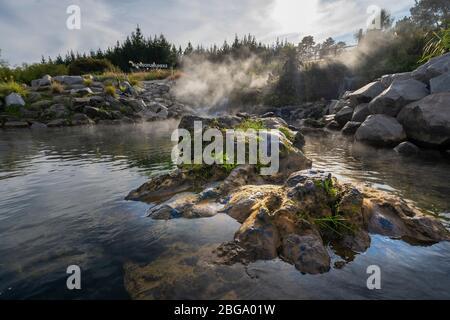 Heißes Wasser aus dem Otumuheke Stream, der in den Waikato River im Spa Thermal Park, Taupo, North Island, Neuseeland fließt - Stockfoto