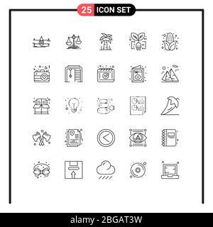 25 Linienkonzept für Websites Mobile und Apps Mais, Plug, Profit, Leaf, Ecology editierbare Vektordesign-Elemente - Stockfoto