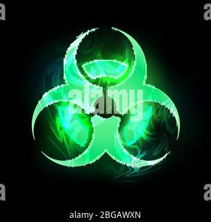 Grünes Symbol für Biohazard auf schwarzem Hintergrund. - Stockfoto