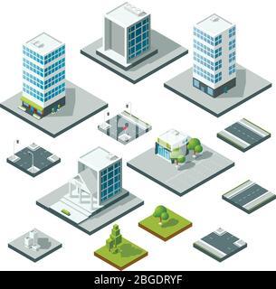 Set von isometrischen Stadtlandschaft Design-Elemente. 3D-Konstruktor