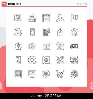 25 Linienkonzept für Websites Mobile und Apps Vorhängeschloss, Körper, Ventil, Avatar, Rennen editierbar Vector Design Elemente Stockfoto